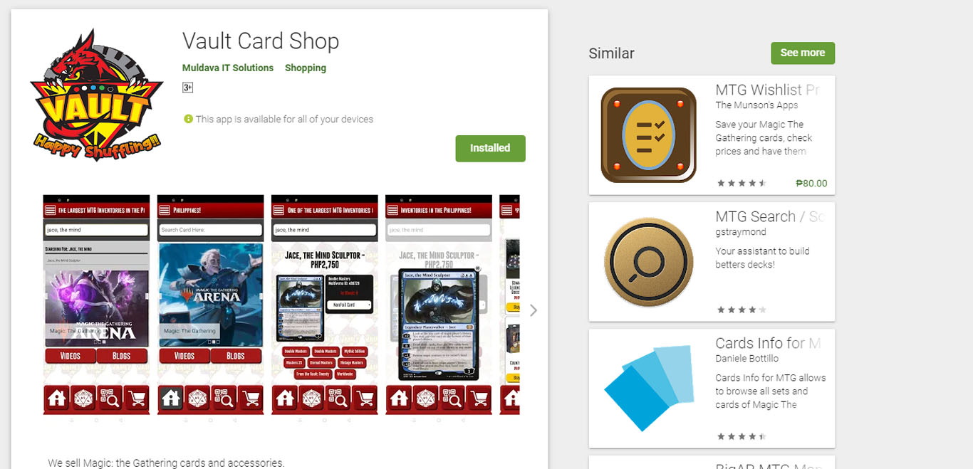 Vault Card Shop Android App