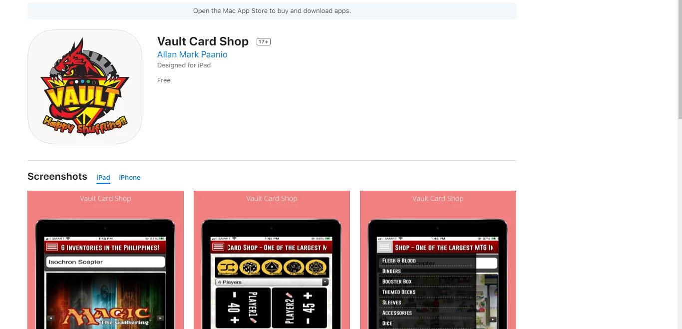 Vault Card Shop Online IOS